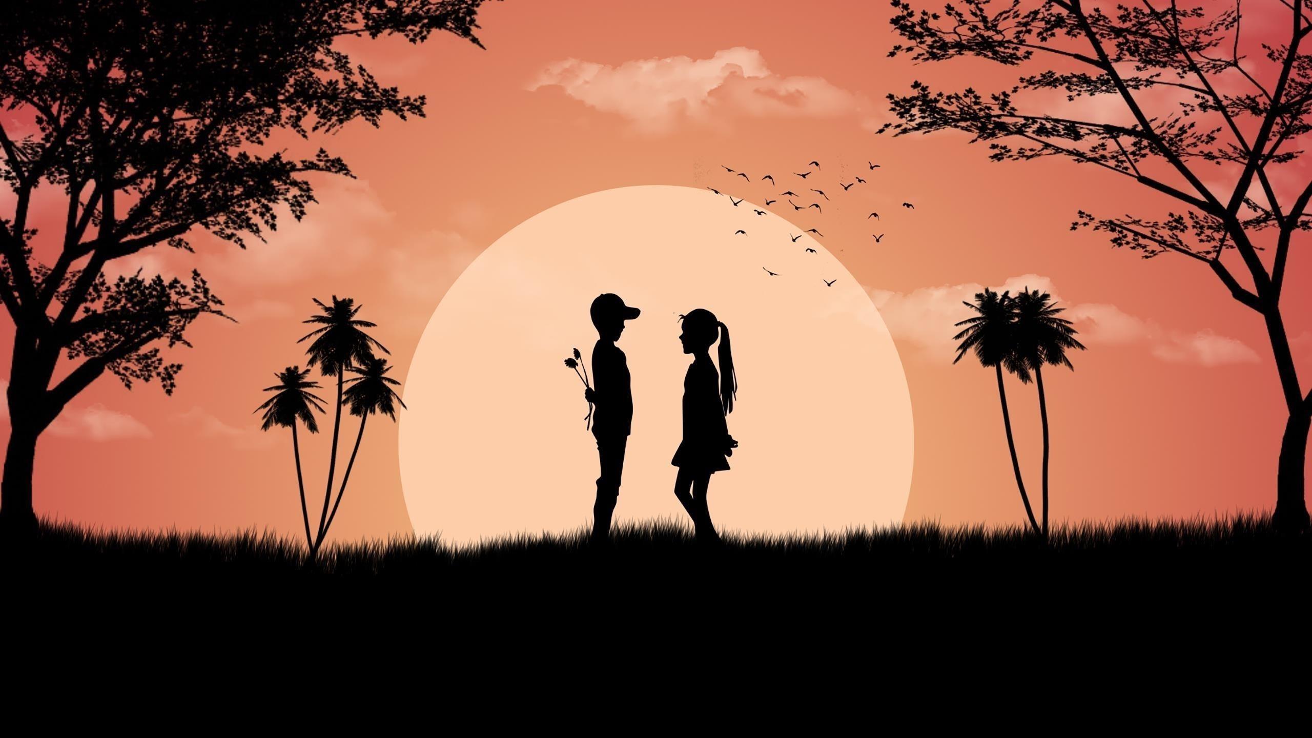 Мальчик девочка любит милый закат обои скачать