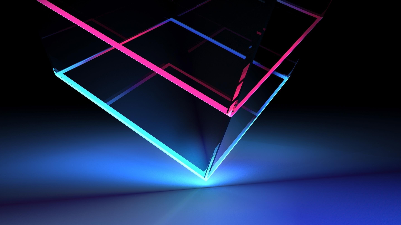 Стеклянный неоновый кубик обои скачать