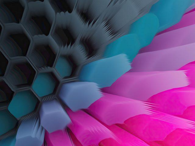 Розовый синий шестиугольник абстрактный