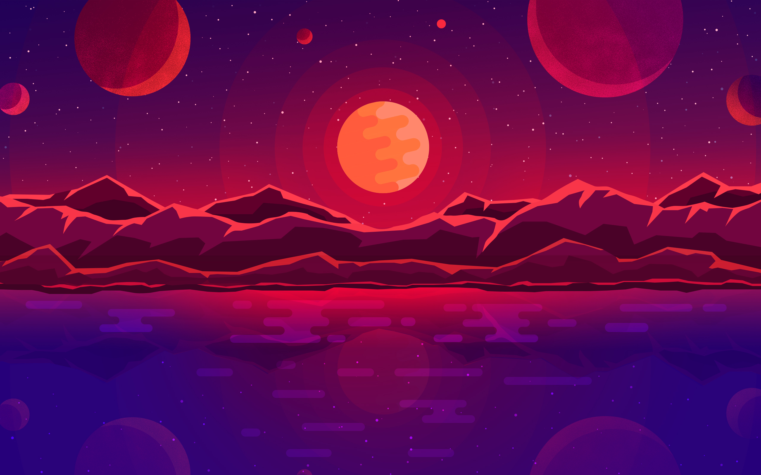 Закат планет обои скачать
