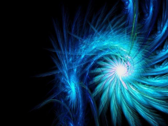 Светло-голубая спиральная сияющая фрактальная абстракция абстракция