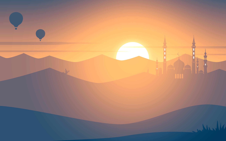 Мечеть на закате обои скачать