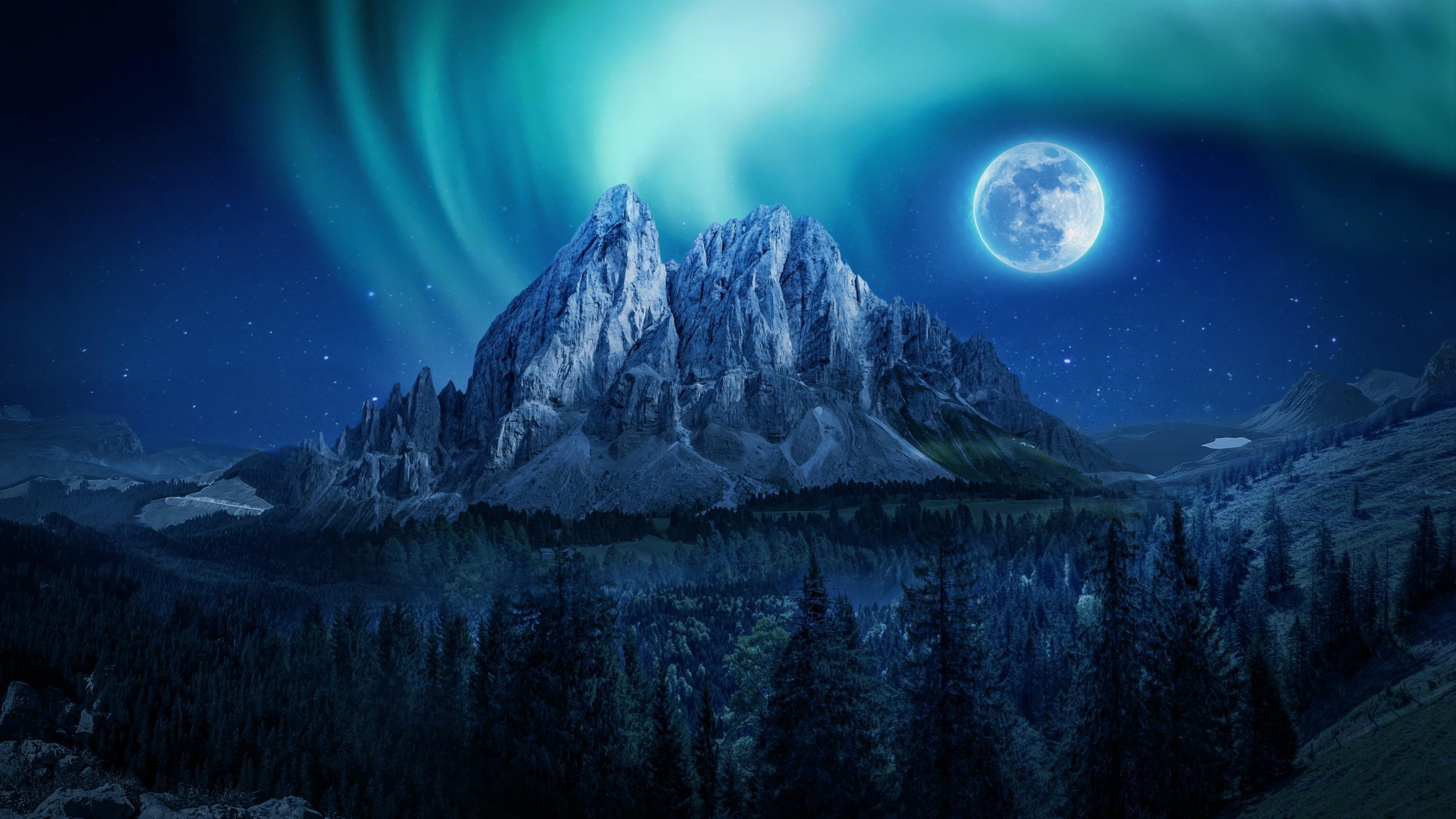 Горный лунный ночной пейзаж обои скачать