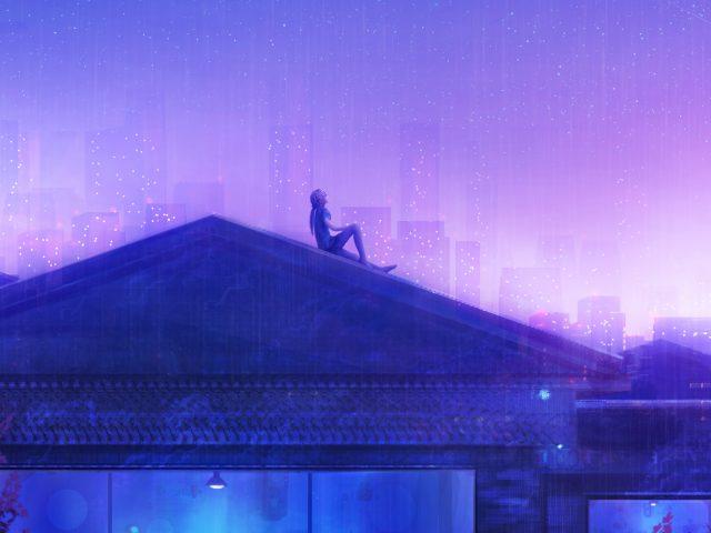 Подсчет звезд девчушки фиолетовое небо мечты