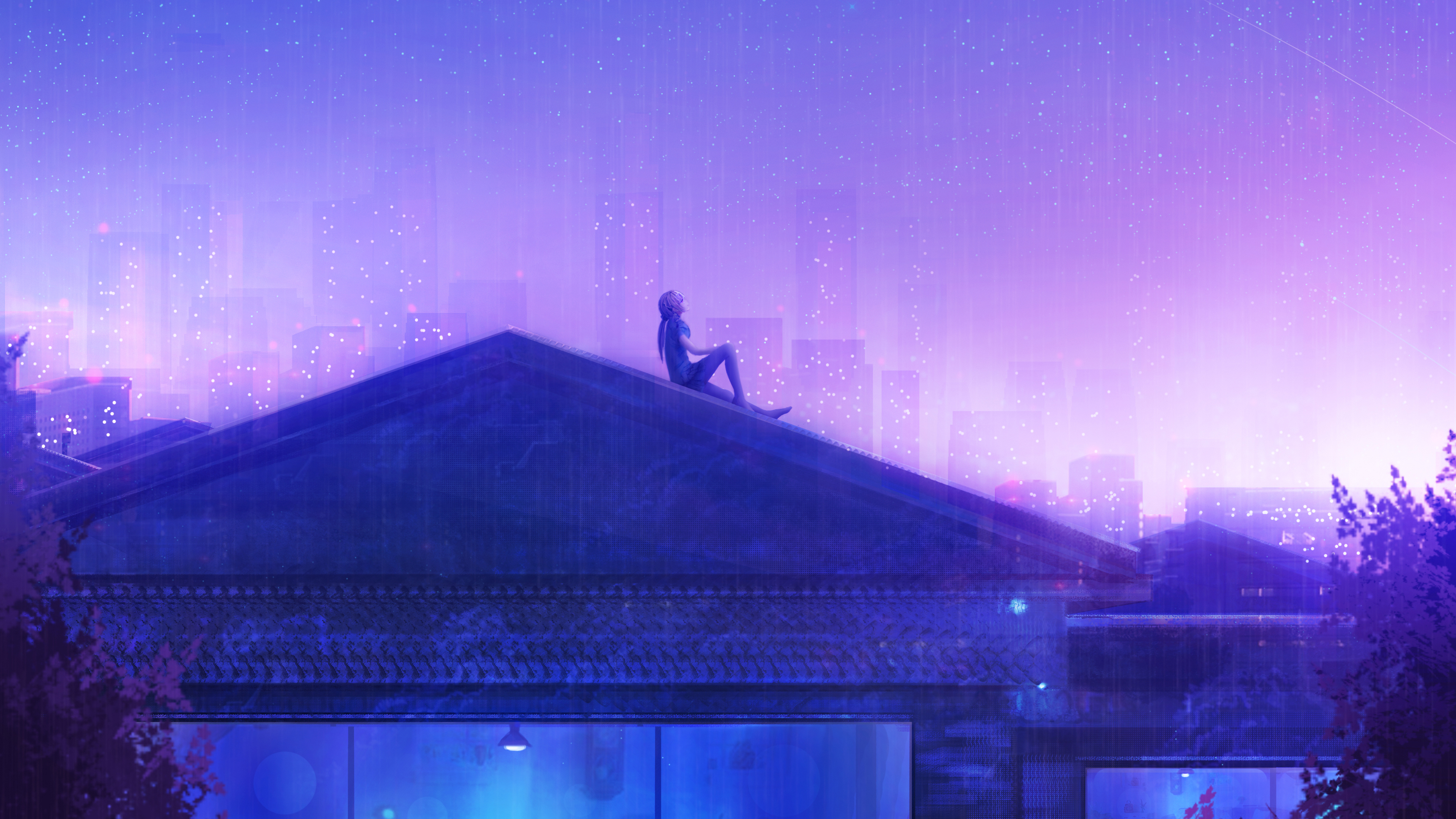 Подсчет звезд девчушки фиолетовое небо мечты обои скачать