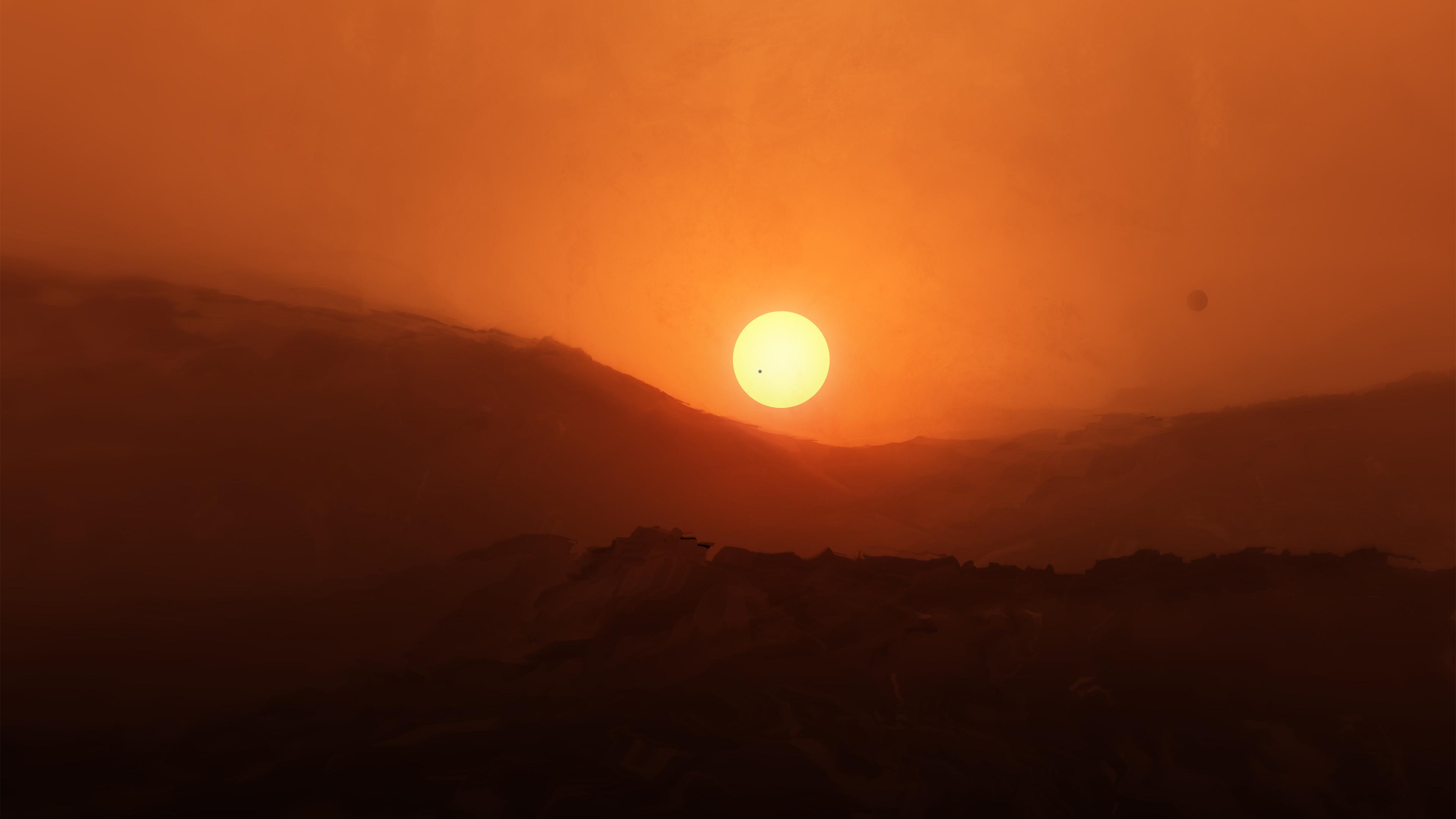 Восход Красной планеты обои скачать