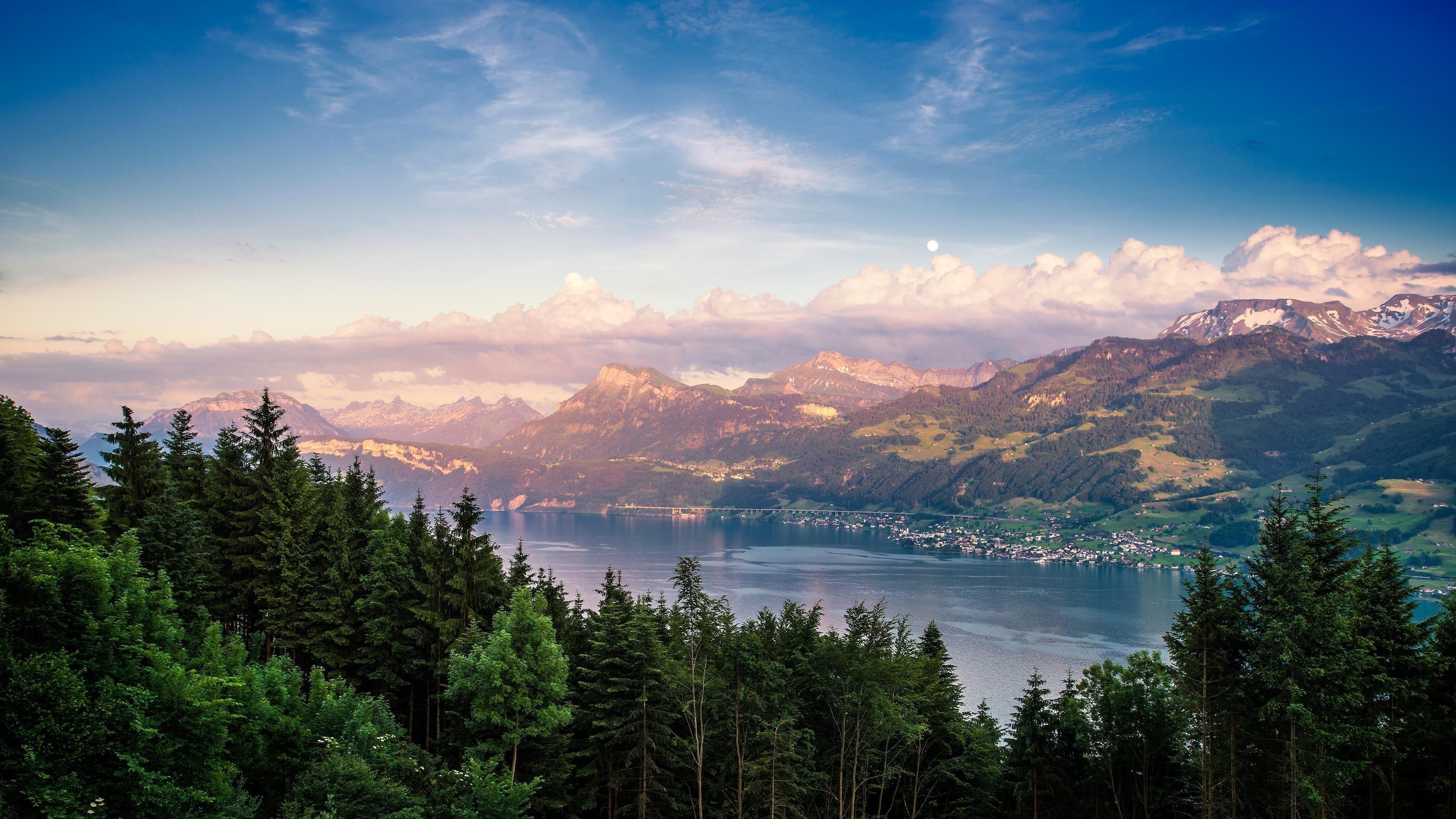 Цюрихское озеро в Швейцарии пейзаж обои скачать