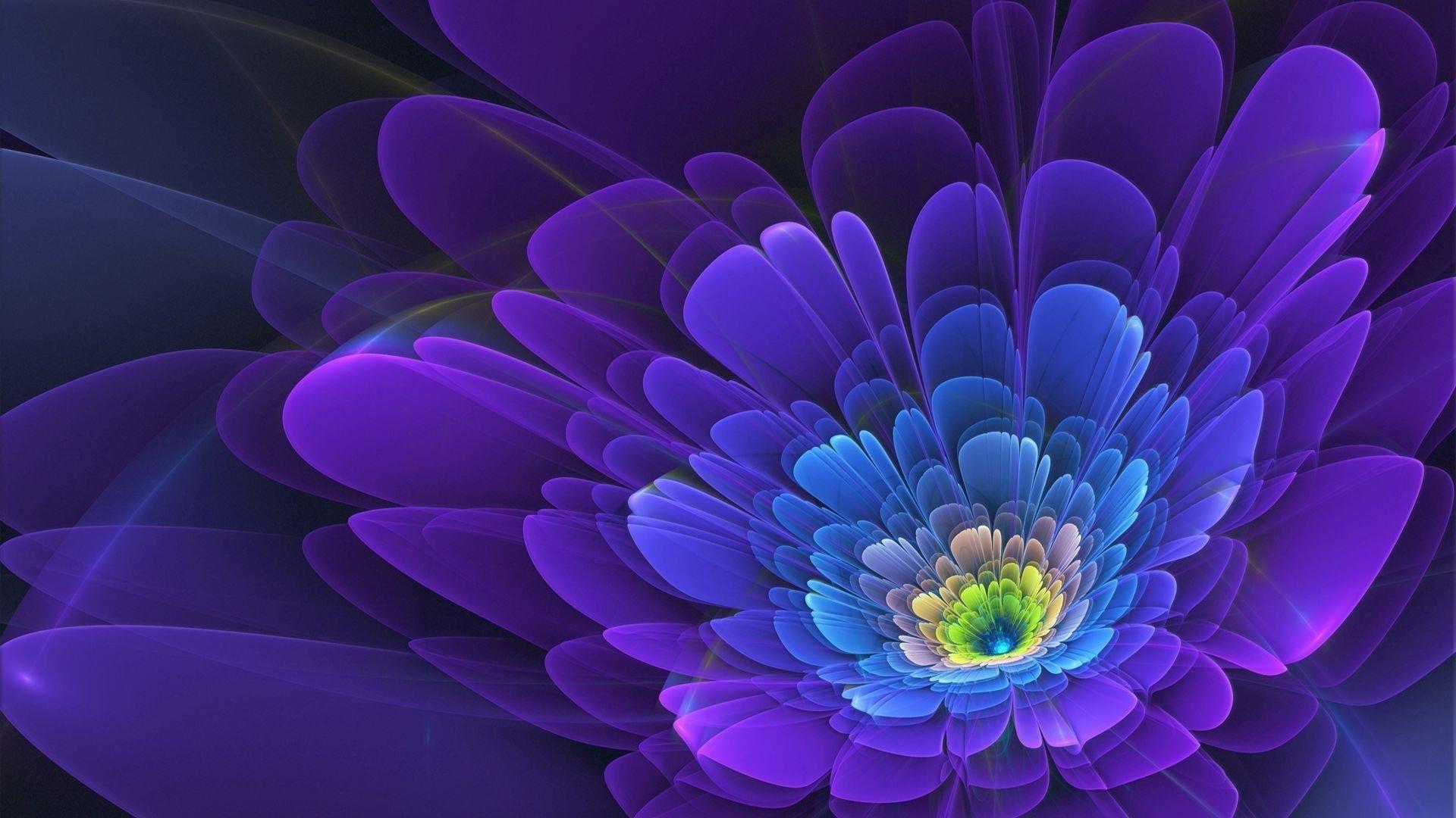 Фиолетовый цветок фрактал абстрактный обои скачать
