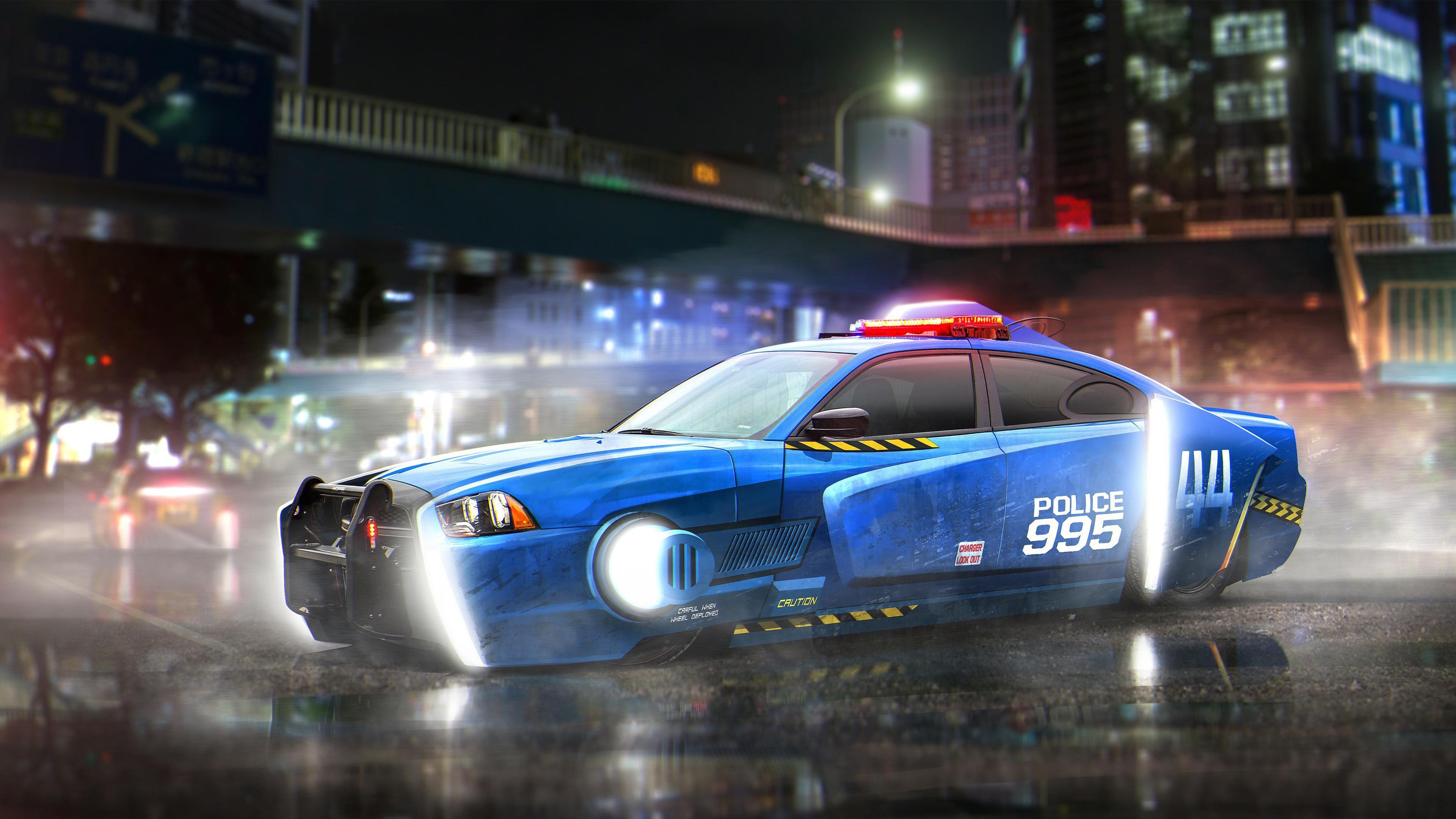 Бегущий по лезвию блесны уворачиваться от полицейских автомобилей обои скачать