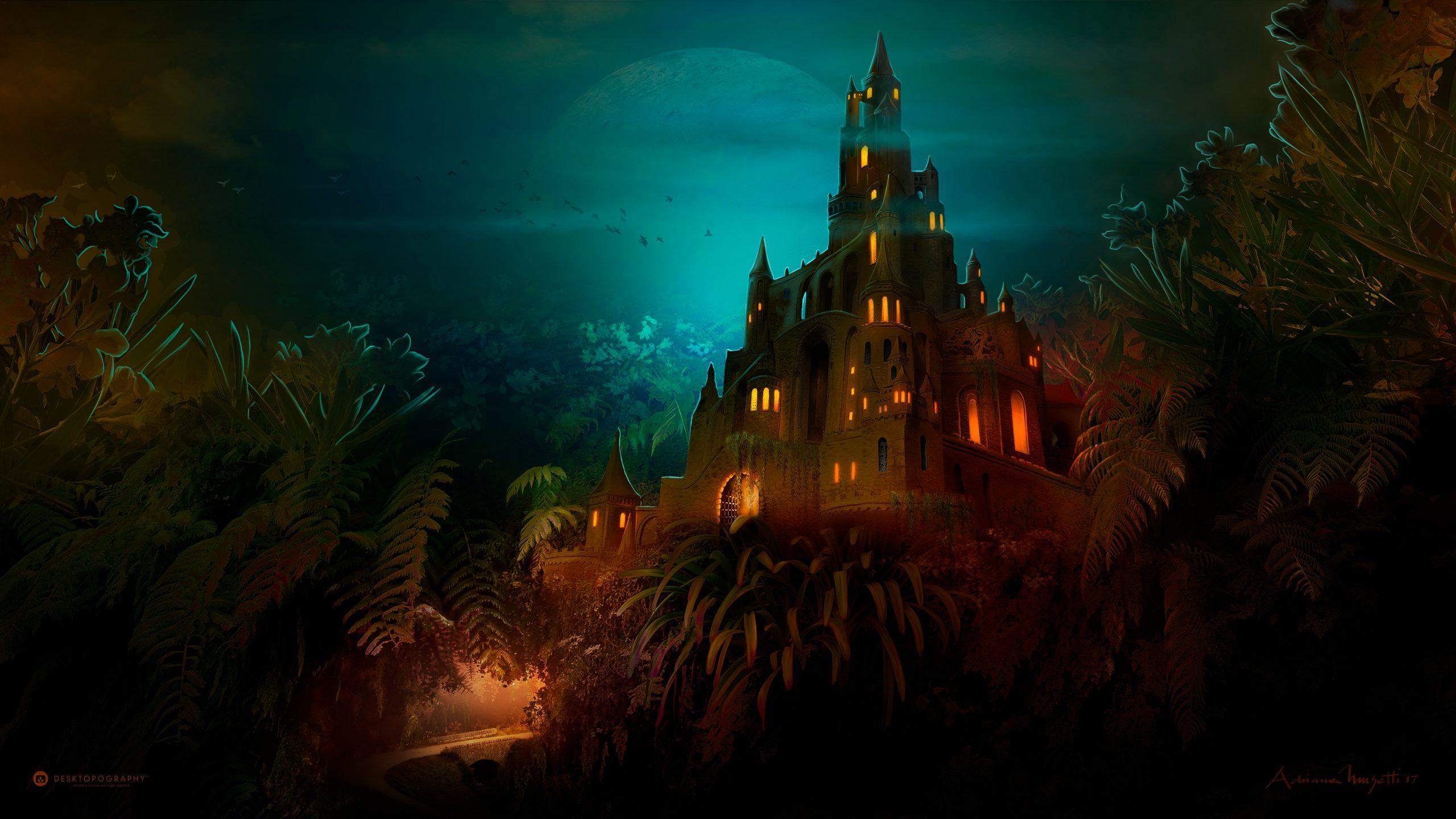 Замок лилипут Темная ночь обои скачать