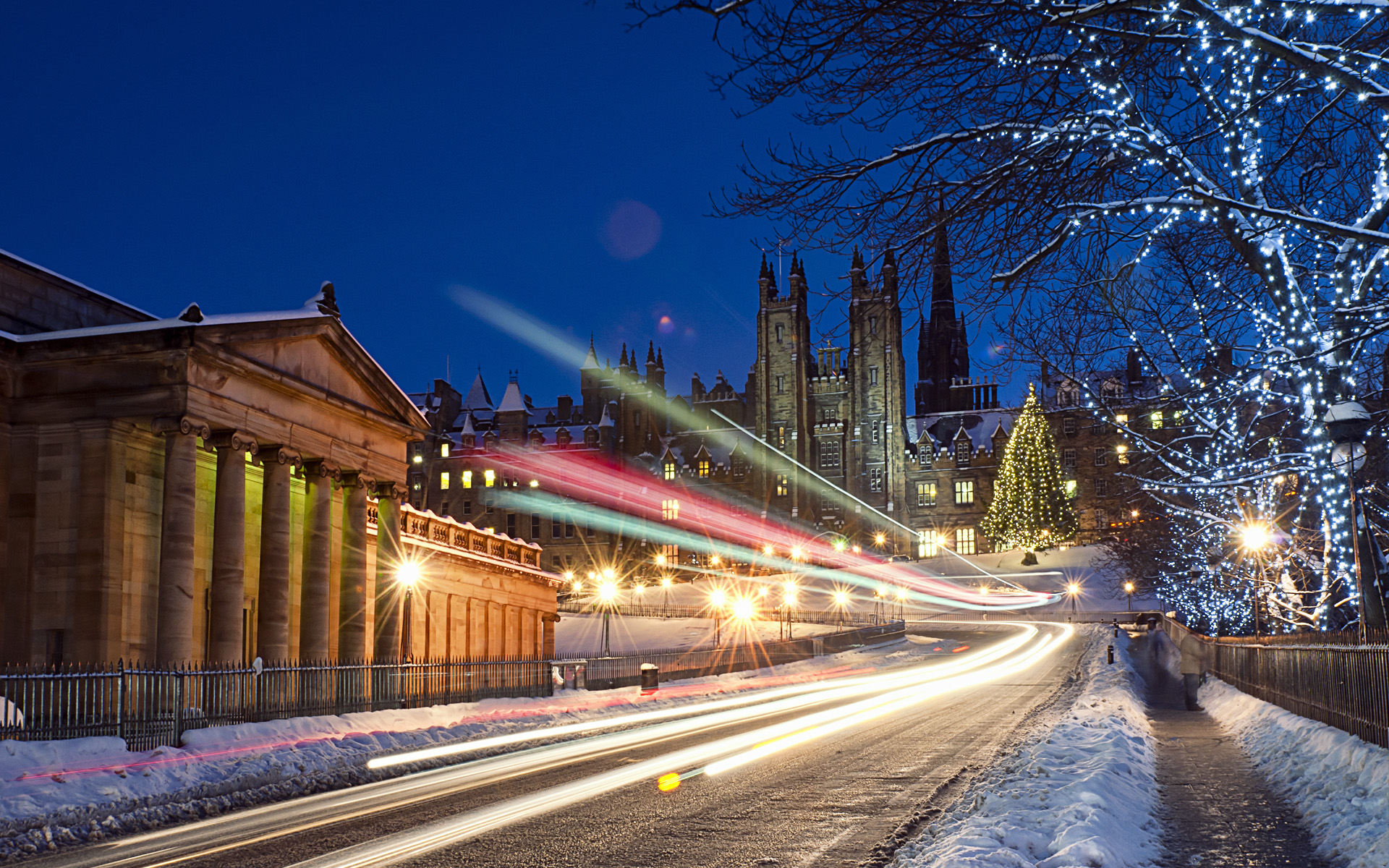 Снежная тропа трафика. обои скачать
