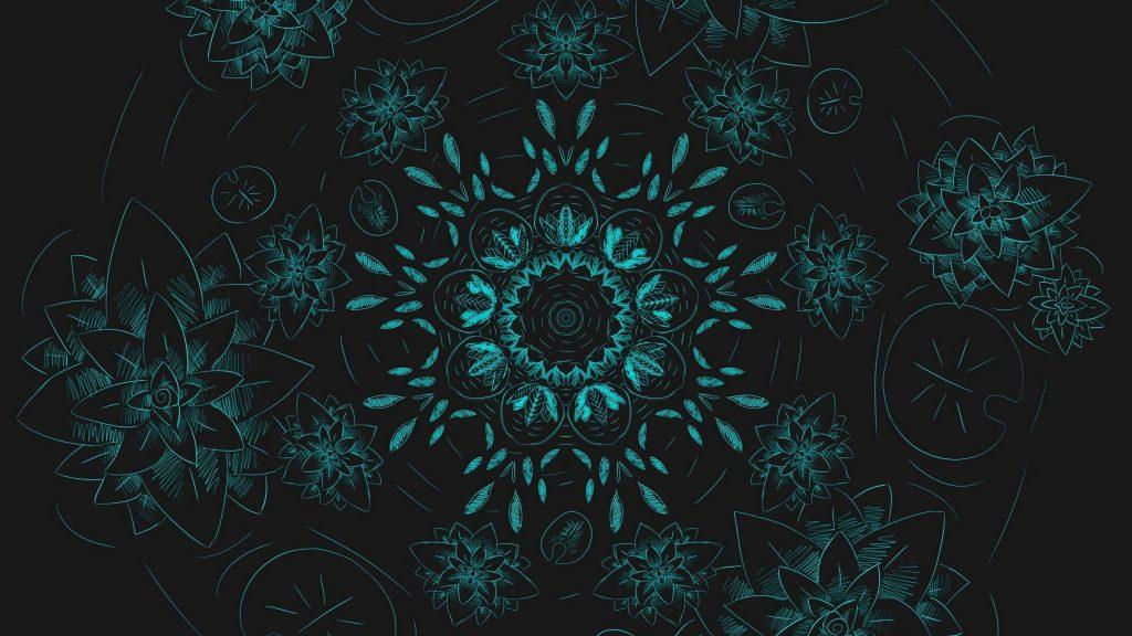Синие цветы фрактальный узор абстракция абстракция обои скачать