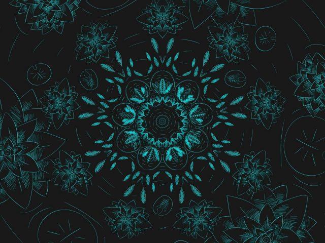 Синие цветы фрактальный узор абстракция абстракция