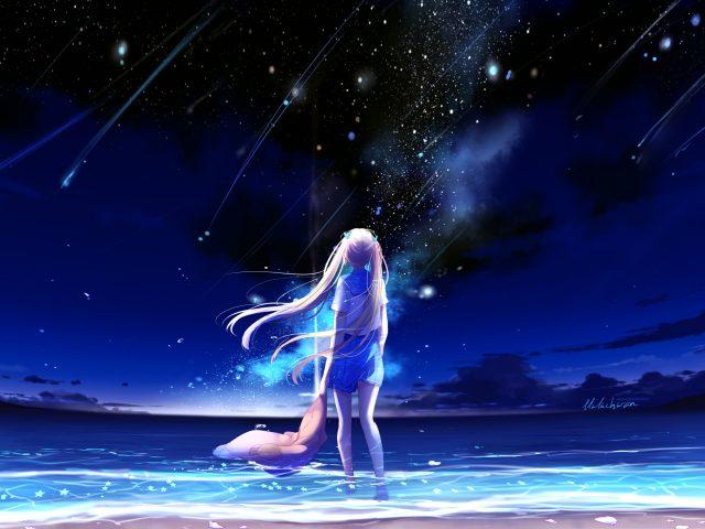 Аниме девушка ночной пляж