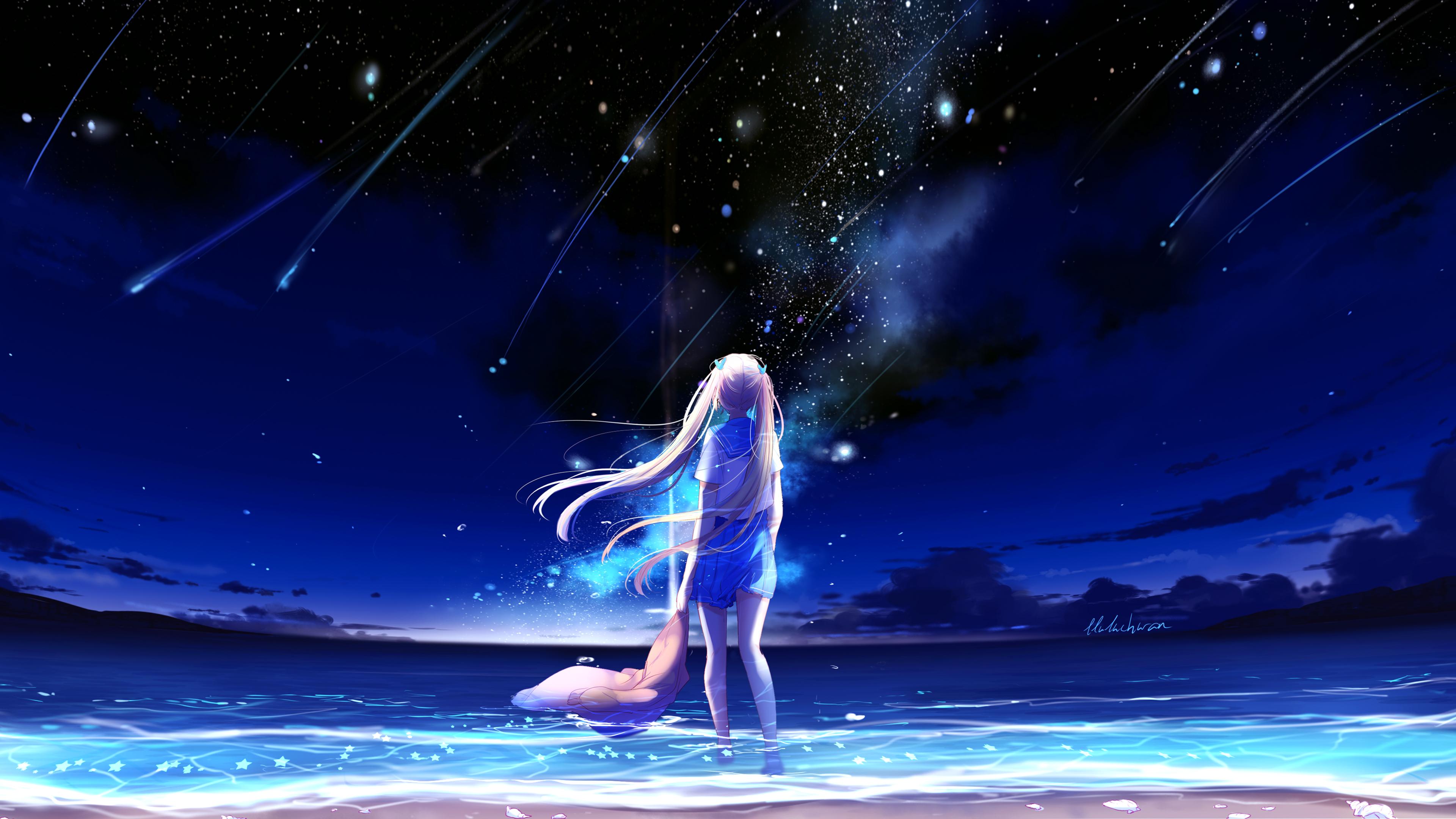 Аниме девушка ночной пляж обои скачать