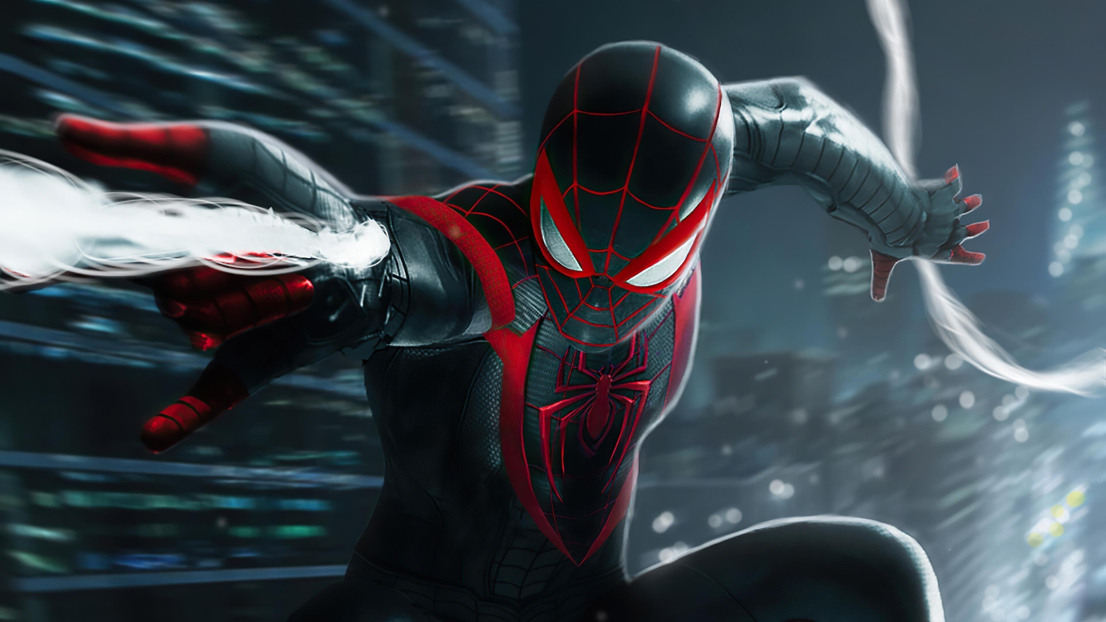 Человек-паук marvel Майлз Моралес атакует обои скачать