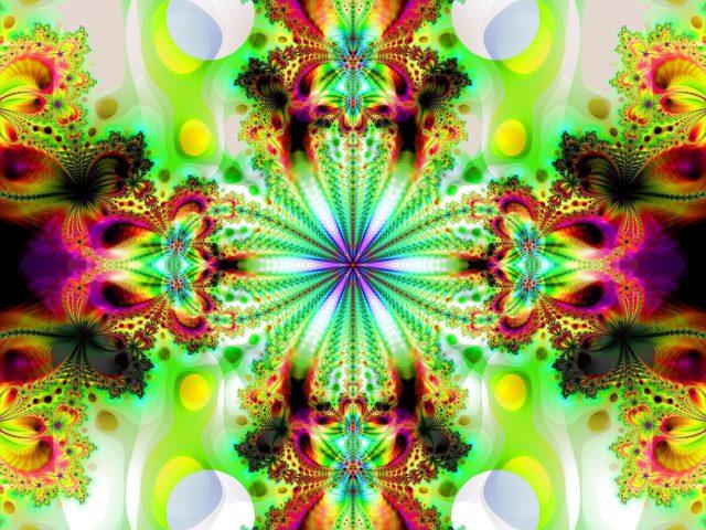 Красочный калейдоскоп фрактальных фигур абстрактные