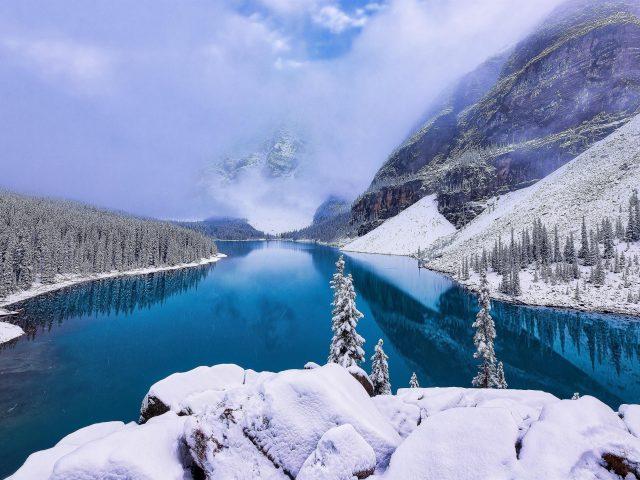 Река между заснеженными горами и соснами в дневное время природа
