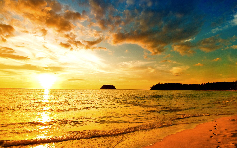 Закат море пляж. обои скачать