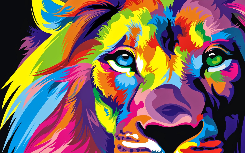 Лев красочные иллюстрации. обои скачать