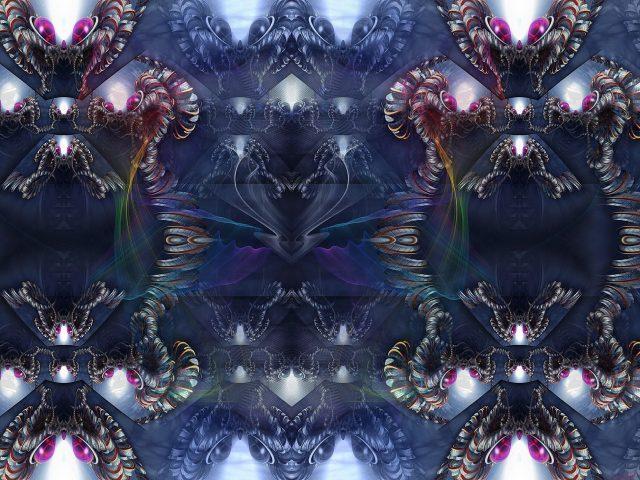 Черный фрактальный узор блики формы абстрактные