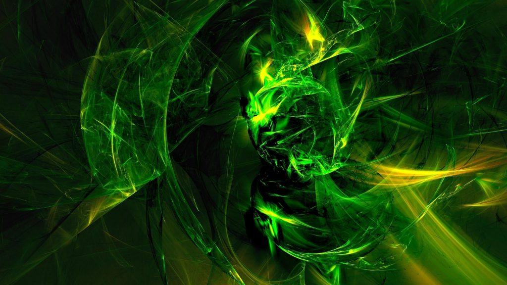 Зеленые фрактальные линии абстракция искусство абстракция обои скачать