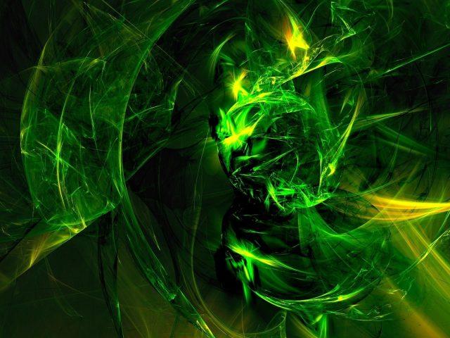 Зеленые фрактальные линии абстракция искусство абстракция