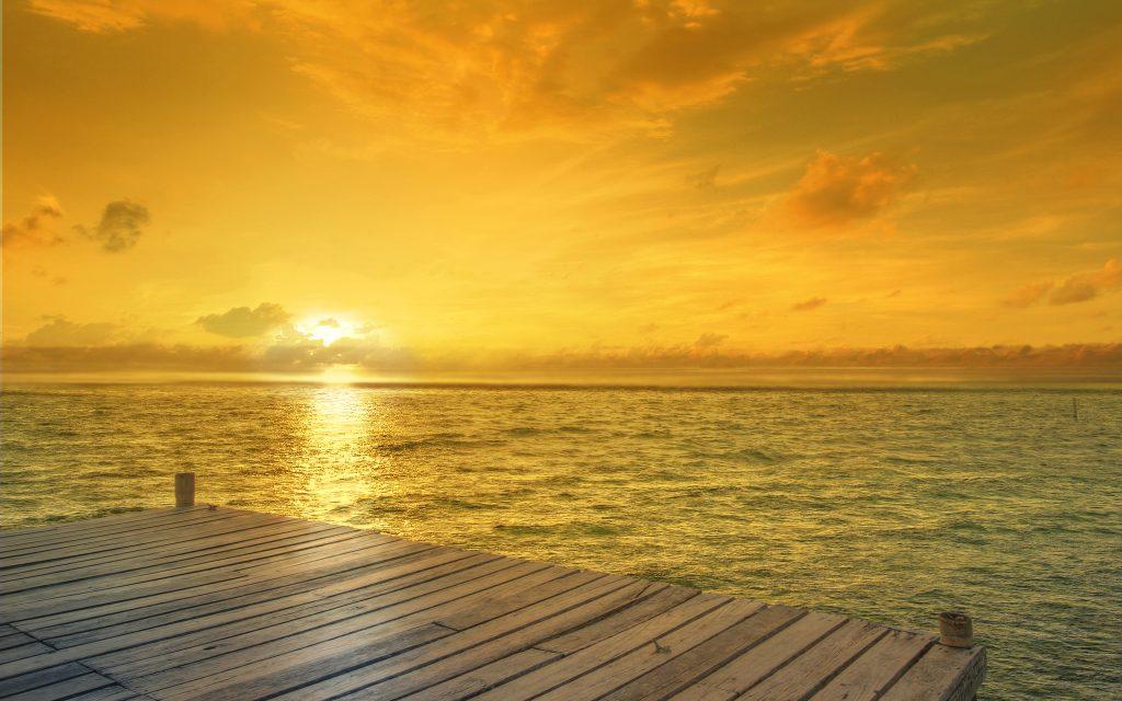 Пляж, горизонт, Восход. обои скачать