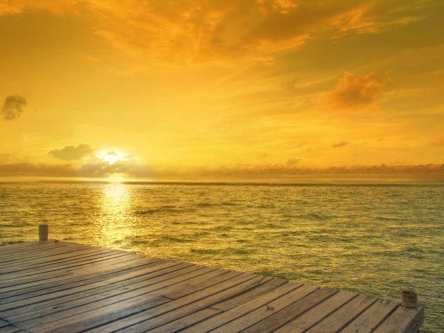 Пляж, горизонт, Восход.