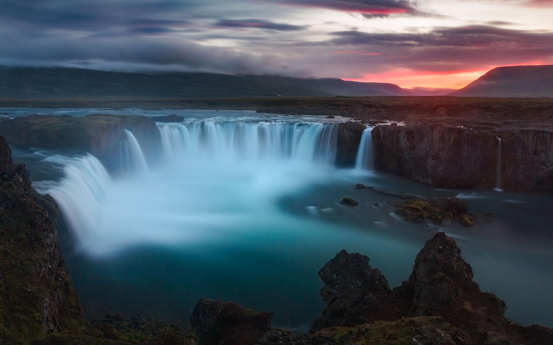 Водопады годафосс Исландия обои скачать