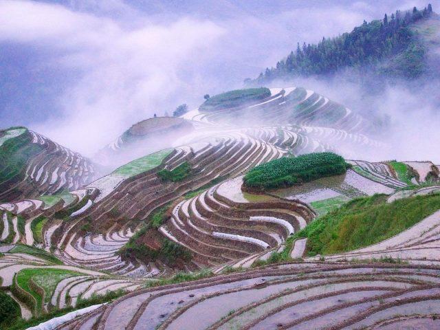 Прекрасный вид на дорогу покрытую туманом и пейзажный вид на горы под небом природа