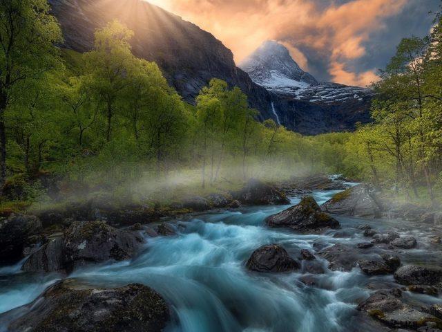Земля река между зелеными деревьями закат горная природа