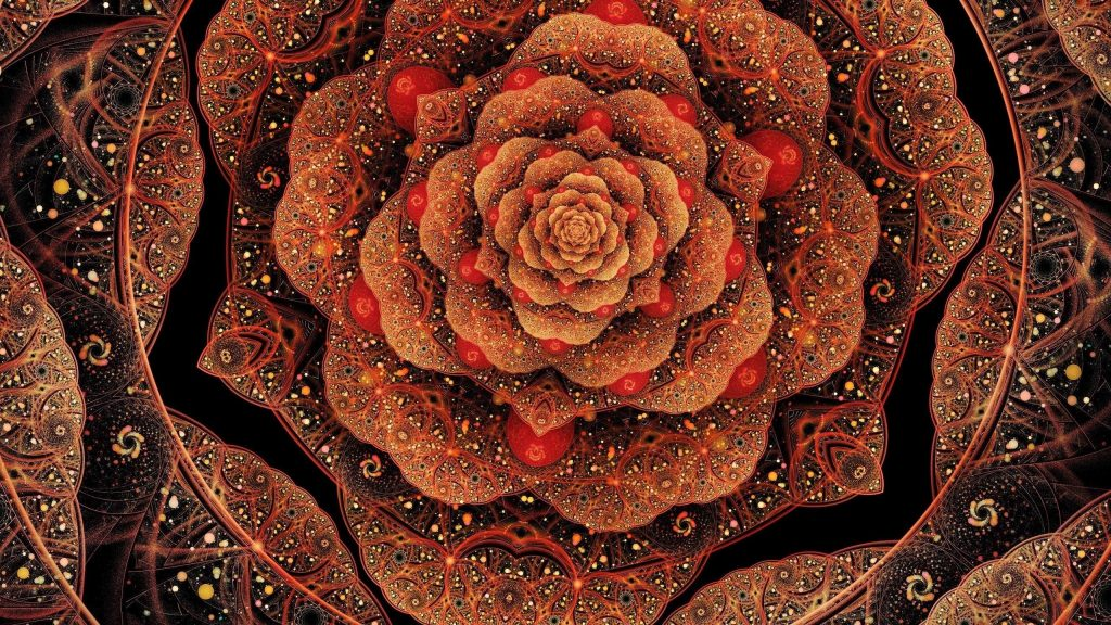 Сверкающий красный цветок фрактал абстрактный обои скачать