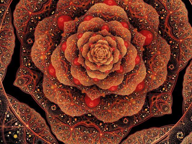 Сверкающий красный цветок фрактал абстрактный