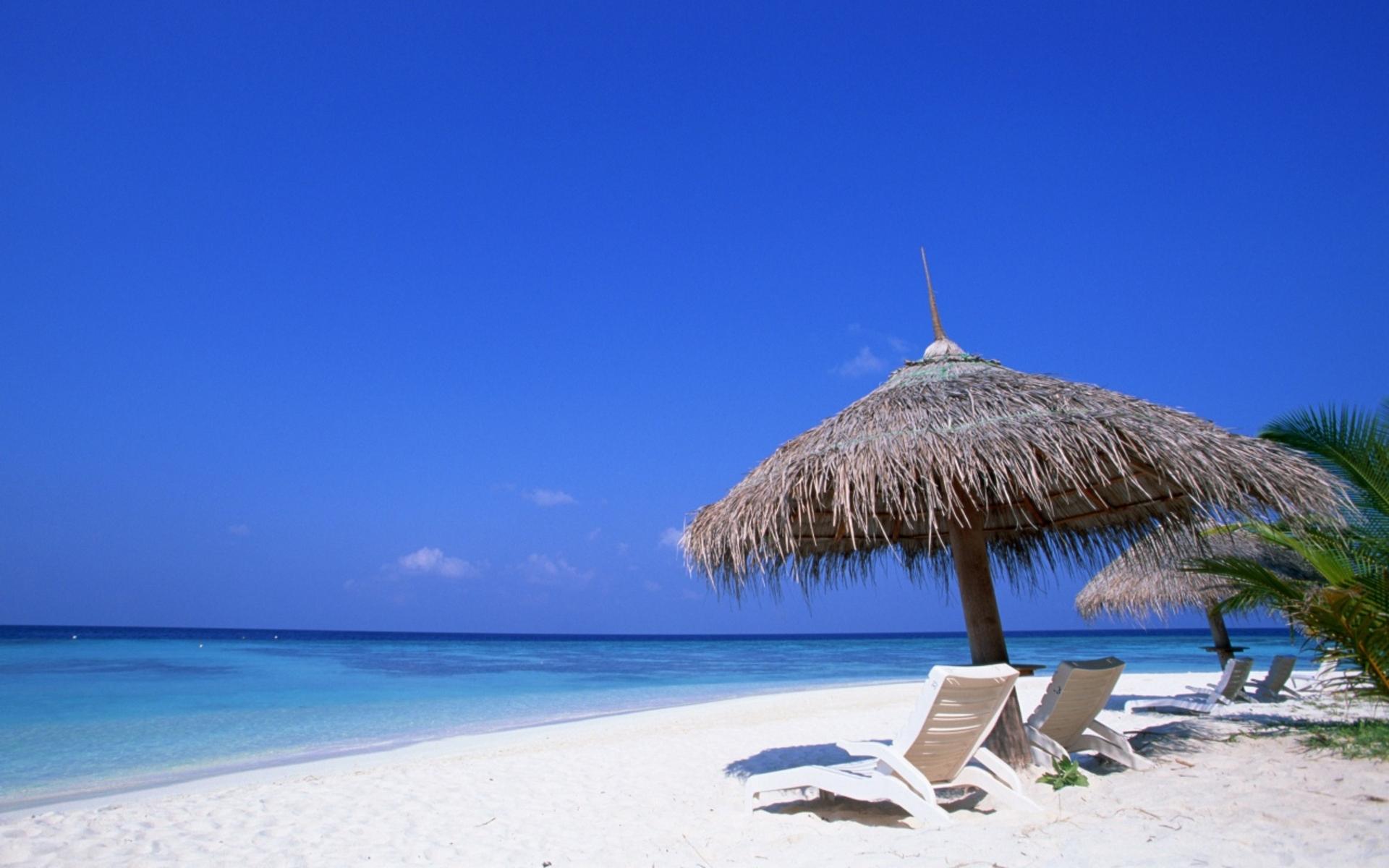 Лежак, пляж, рай, океан обои скачать