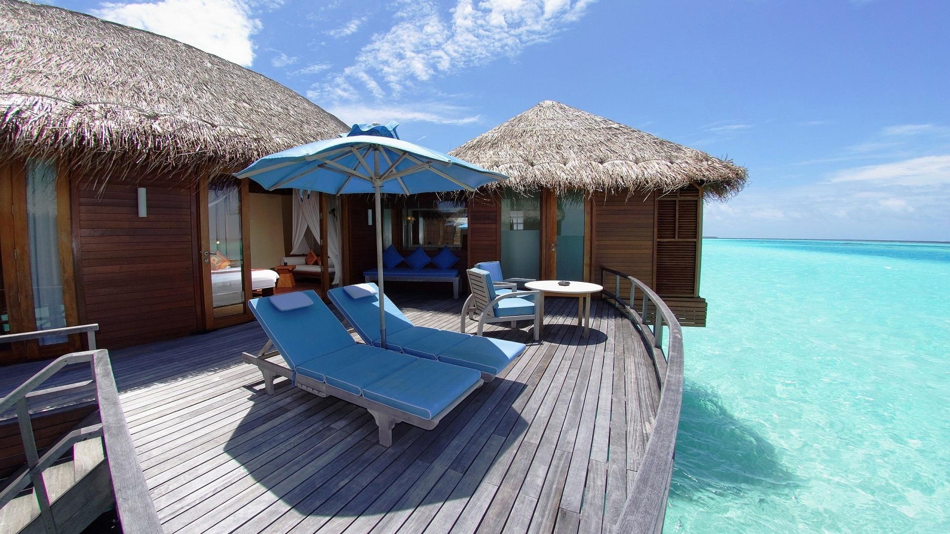 Maldives, мальдивы, пейзаж, шезлонги обои скачать