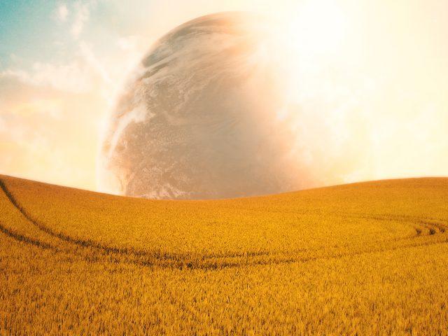 Кампо аберто поля планеты.