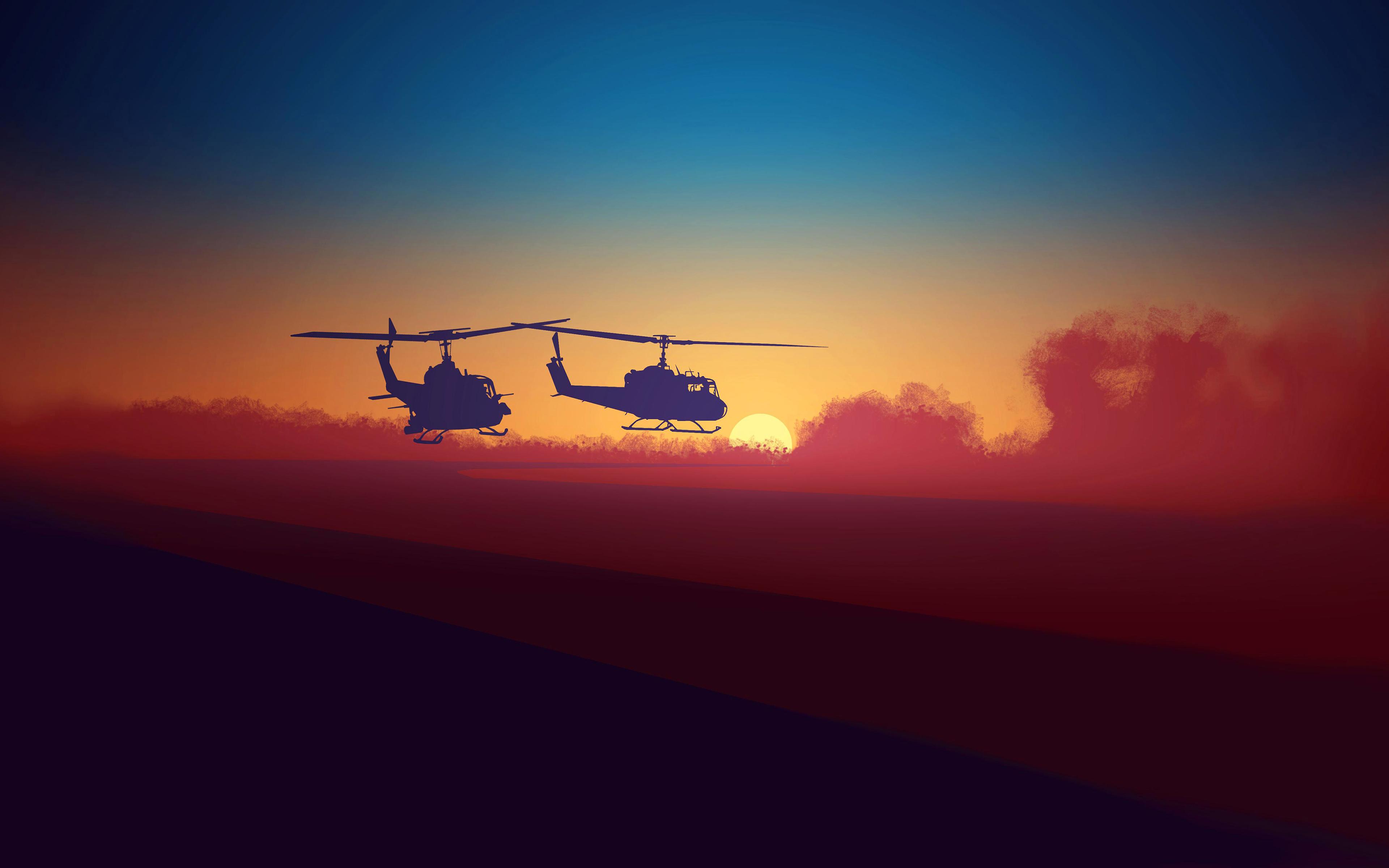 Военные вертолеты закат обои скачать