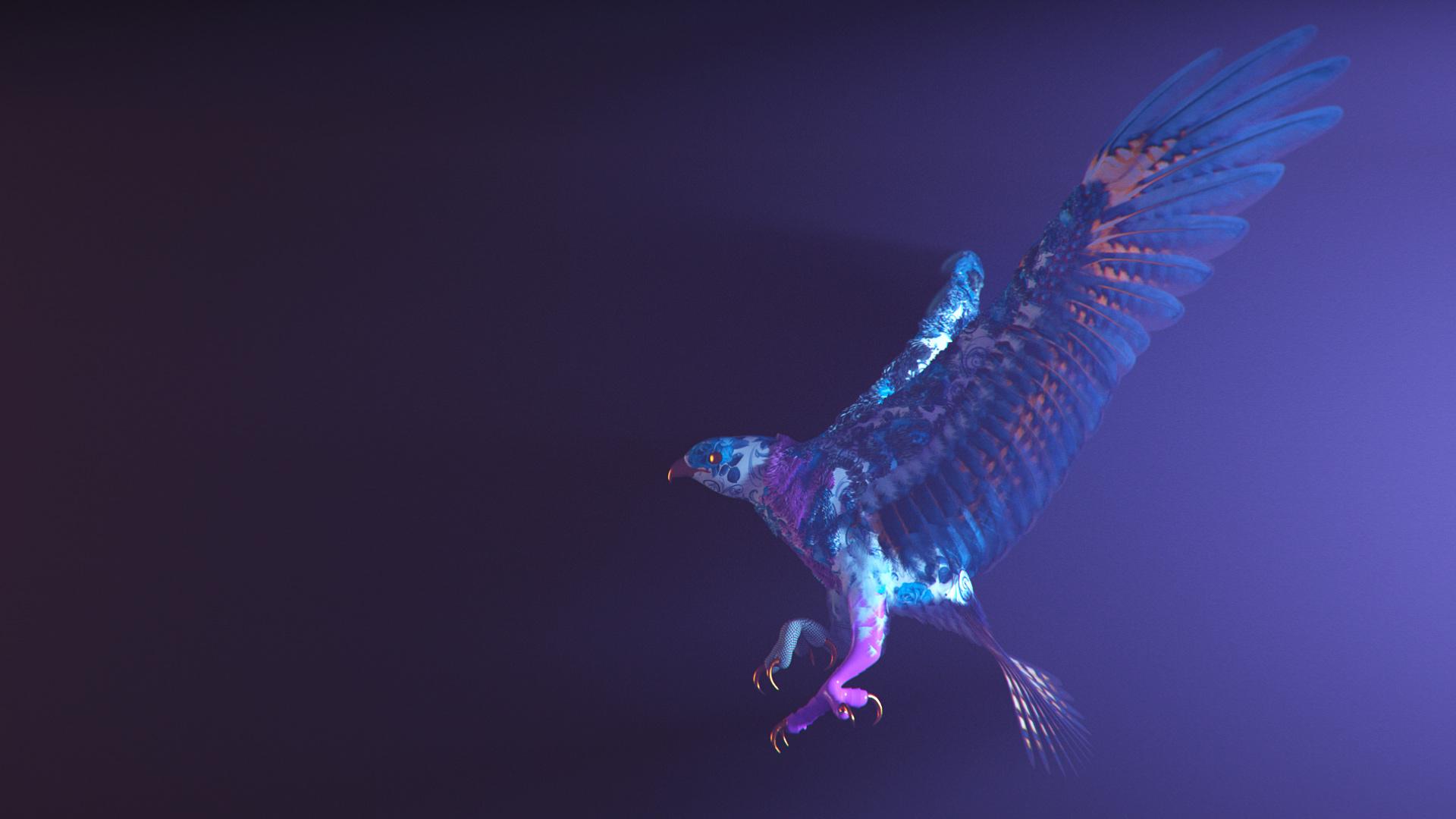 Фиолетовый птица CGI обои скачать