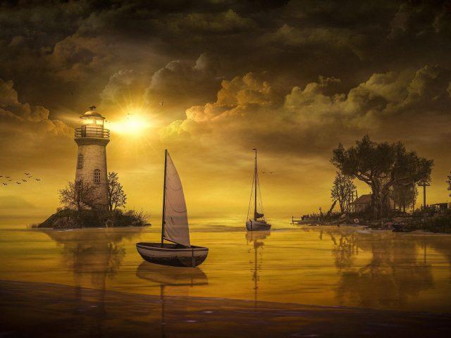Фантастический художественный Маяк между озером и природой