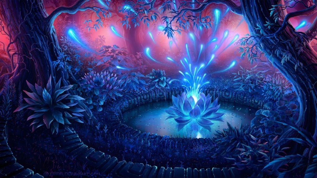 Синяя цветочная фрактальная абстракция абстракция искусства обои скачать