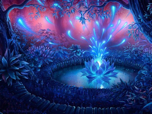 Синяя цветочная фрактальная абстракция абстракция искусства