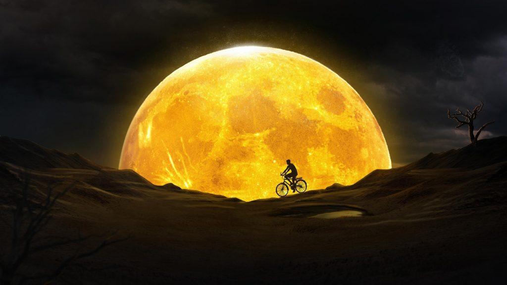 Мечта о золотой Луне обои скачать
