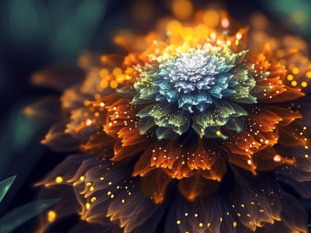 Оранжевые и синие фрактальные цветы абстракция