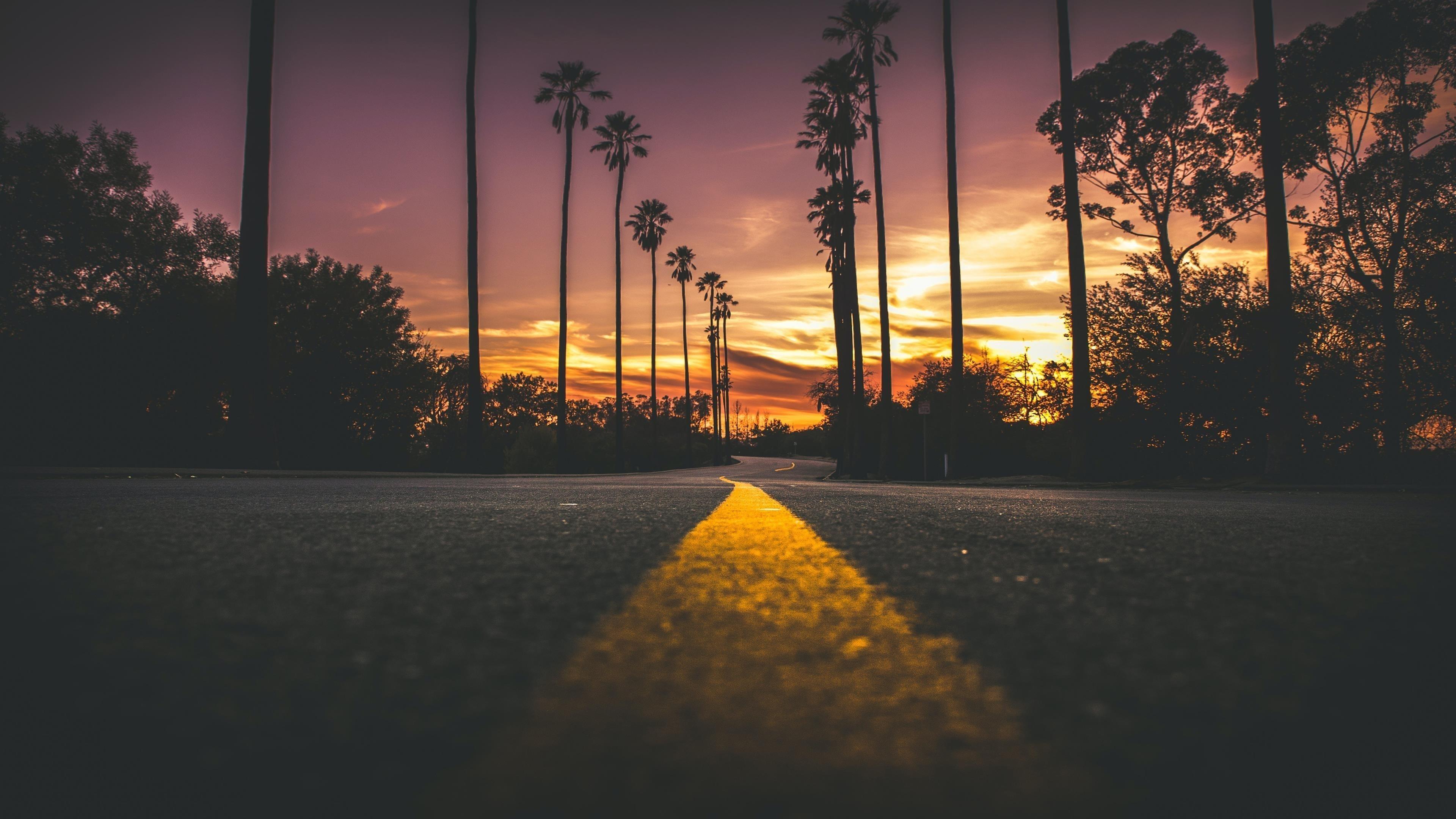 Дорога в городе во время заката солнца обои скачать