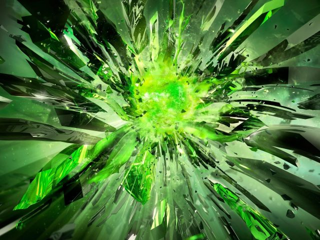 Кристаллы осколки взрыв свет