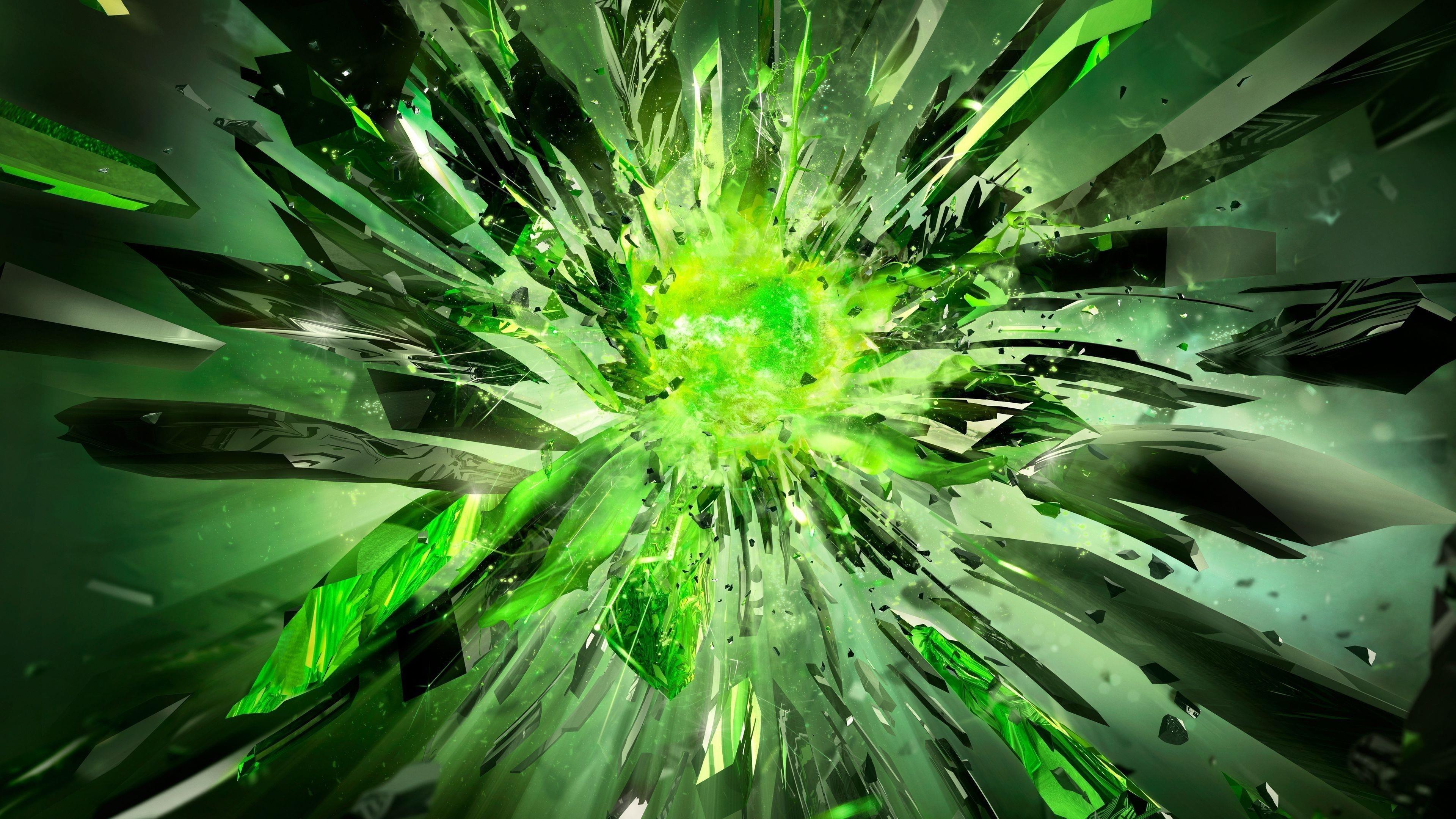 Кристаллы осколки взрыв свет обои скачать