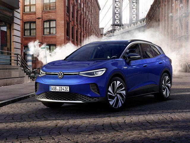 Темно-синий volkswagen id4 1-е издание 2021 года автомобили