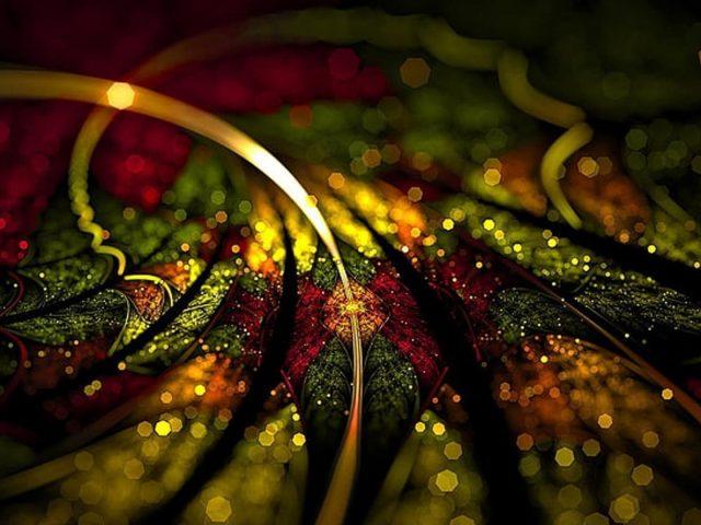 Красный зеленый желтый фрактал боке освещает цифровое искусство абстракция