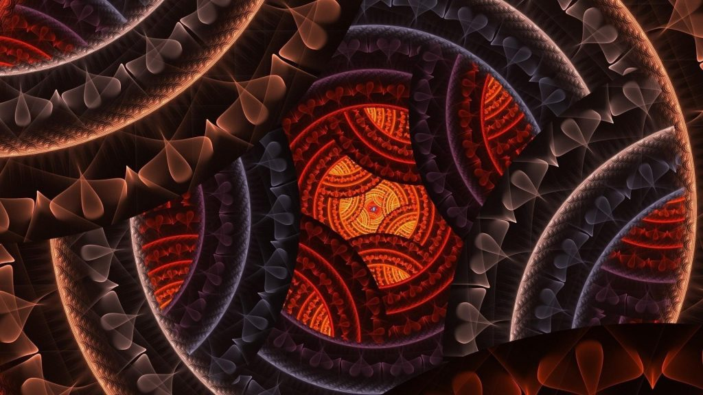 Коричневый оранжевый синий фрактал сердце круглая форма абстракция обои скачать